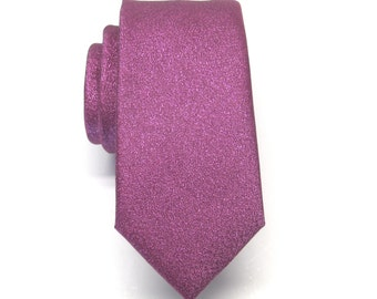 Mens Ties Necktie Metallic Lamé Fuchsia Raspberry Hot Pink Metallic Skinny Tie