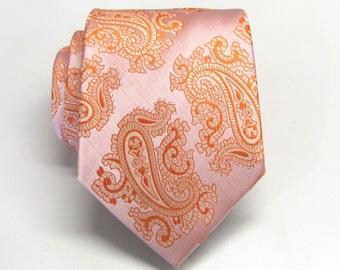 Mens Ties Necktie Coral Peach Paisley Mens Ties