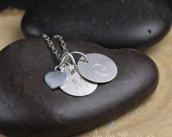 Tiny Heart Keepsake Necklace with Engraved Sterling Silver Letter Charms Initials Name Jewelry