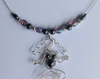 Pregnant Yoga Lotus Neckace with Semi-precious Hematite Beads