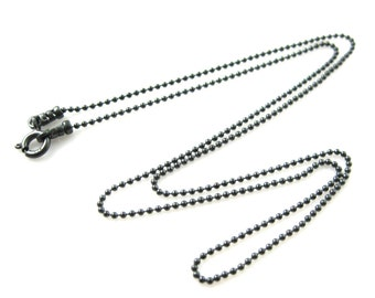 Oxidized Necklace-Oxidized Sterling Silver Chain Necklace-1.2mm Ball Chain-Finished Necklace,Extra Long Necklace-All sizes-SKU:601050-OX