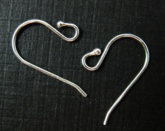 Sterling Silver Earwire - Simple Small Fishhook shape with ball,21 gauge, 0.7mm thickness, 18mm by 11mm ( 10pcs - 5 pairs)  - SKU: 203040
