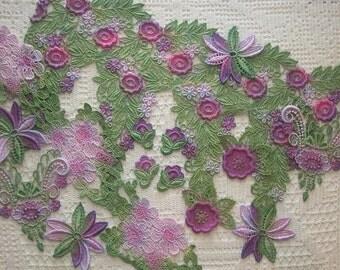 Crazy Quilt,  Hand Dyed Venise Lace, Trim Embellishments, Appliques, 14 Pc. Grab Bag