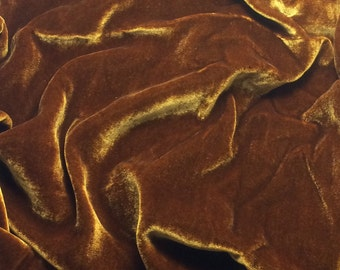 Iridescent  AMBER Silk Velvet Fabric - fat 1/4
