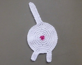 Cat Butt Coaster, Funny, Crochet, Cotton, Kitty, Joke,Silly, Man Cave, Stink Wink, White
