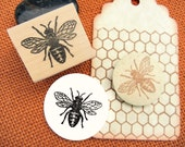 Bee Rubber Stamp // Honeybee stamp -  Antique Image - Handmade by BlossomStamps