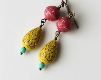 Boho Chic Bollywood Earrings / Yellow Fuchsia Pink and Turquoise /Bohemian Earrings for Summer / Colorful Dangle Earrings / Fun for Summer