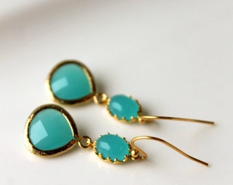 Turquoise Dangle Earrings / Drop Earrings / Gold Framed Earrings /Turquoise Pool / Gold Finish / Wedding Jewelry / Summer Ocean Turquoise