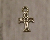 Tiny Antiqued Silvertone Cross Charm - Christian/Inspirational - low shipping