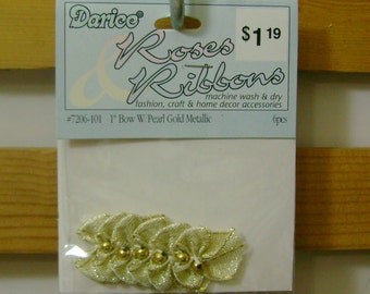 1 inch Darice Gold Ribbon Bows with Bead - 3 packages of 6