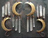 Moon Earrings / Healing Crystal / Dangle Earrings / Crescent Moon/ Daniellerosebean / Boho / Gypsy / Raw Crystal Earrings /