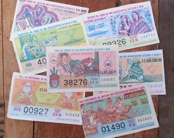 vintage lottery tickets - Loteria lotto lottery - Mexico - 6 tickets