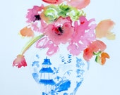 Watercolor Painting, Chinoiserie, Ginger Jar, Pagoda, ORIGINAL ART, Floral, Flower Art, Flowers, Flower Painting, Still Life Painting