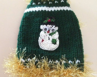 XXS Christmas Snowman Dog Sweater Tiny Dog Puppy Chihuahua Dog Sweater FREE SHIPPING