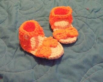 Orange Flower Baby Sandals
