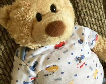 Teddy Bear in White, red, blue and yellow outfit, Baby Boy 17 inch Second Chance