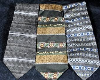Vintage Croft and Barrow Lot of 3 vintage Silk Ties - Geometric Patterns