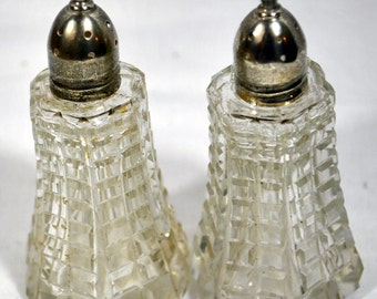 Vintage Sterling Top Glass Salt and Pepper shakers with Screw-On Tops