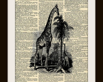 Art Print GIRAFFE 8x10 Dictionary Gold Gilded Vintage Page