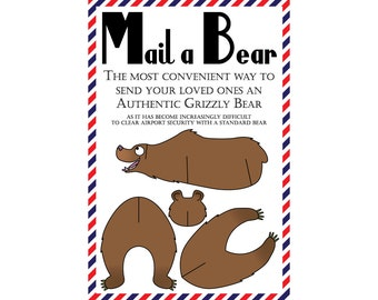 "Bear Postcards, Set of 8 ""Mail a Bear"" (Grizzly) Postcards"