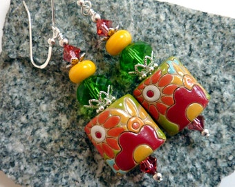 Retro Flower Power Earrings, Handmade Ceramic Beads,  Colorful Earrings, Sterling Earwires