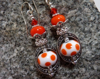 Orange Polka Dot Earrings,  Handmade Lampwork, Fun Colorful Drop Dangle, Sterling Earwires