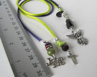 Beaded Book Marker, John 3:16, Angel, Cross charms, Books and Zines,  Religious Bible  Marker, page marker,  lime, Purple Satin cord #1167