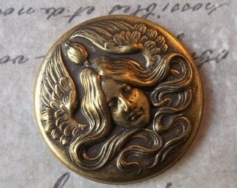 HUGE SALE Mucha Art Nouveau Angel Surrounded By Flowing Hair & Outspread Wings Medal Antiqued Brass Stamping Pendant