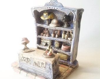 Ladies shop counter hat shop perfumery miniature ceramic art piece