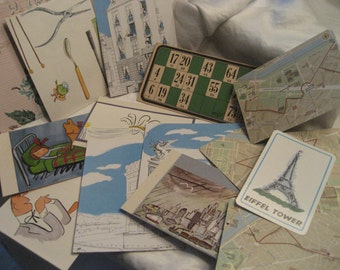 Lot of Paper & Heavy Card Stock Printed Scrapbooking Collage Empherema Paris mostly