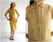 Classic 1960's Wool Knit Skirt Suit in Butter Yellow with Peter Pan Collar and Pencil Skirt | XS/small