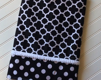 Personalized-Baby-Blanket-Girls-Black-Damask-Coif-Pink-Quilts-Stroller-Receiving-Swadle-Minky-Kids-Room-Decor-Nursury-Newborn-Toddler-Gift