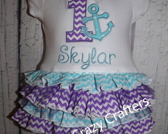 Custom Birthday Ruffle T-Shirt Dress, Anchor, One, Nautical, Party