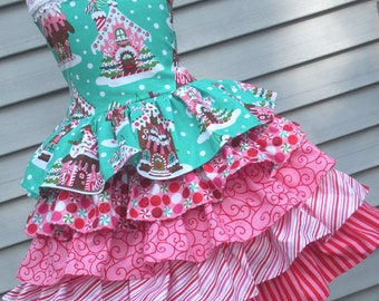 Ready to Ship Custom Boutique Christmas Dress Aqua Gingerbread Girl Size 5 or 6