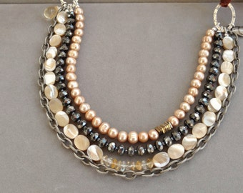 Gem and Pearl Necklace, Bib Collar 4 Strands, Citrine, Hematite, Mother of Pearl, Designer Necklace, June Birthday, SAND DUNE