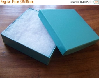 Summer Stock Up Sale 100 Pack 3.5X3.5X1 Inch Teal Cotton Filled Jewelry Gift Presentation Boxes