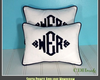 Set of TWO - South Pointe Applique Monogrammed Pillow Covers - 12 x 16  lumbar