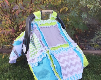 Car Seat Canopy, Elephant, Chevron, and Polka Dot in Lime Green, Gray, and Blue for Baby Boy - Baby Boy Carseat Canopy with Elephants
