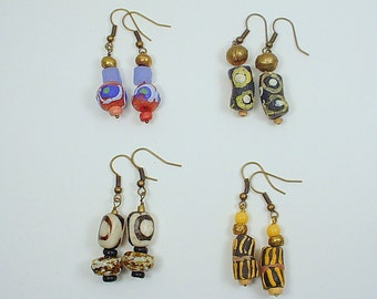 4 Styles of Earrings with African Trade Beads of Ghana Glass Beads, Kenya Bone Batik Beads and Ethiopian Metal Beads