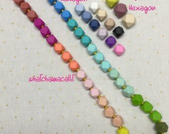 Baby Mini Hexagon Necklace, Rainbow Baby, Etsy Mama, Silicone Beads, Wholesale 28""