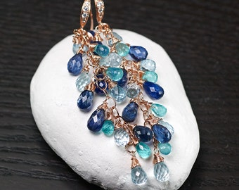 Kyanite briolette earrings, Blue Topaz, Apatite gemstone luxe earrings, CZ pave 14k Rose Vermeil hooks ... ANAN Earrings