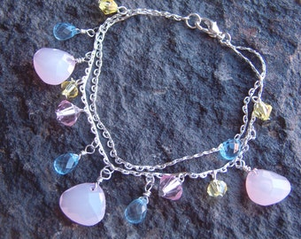 Bracelet, Dangle Bracelet, Pastel Bracelet, Double Stranded Bracelet, Silver Bracelet, Fashion Dangle Bracelet