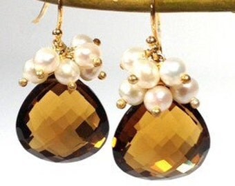 Cognac Quartz and Pearl Clusters