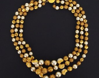 Vintage 3-Strand Gold, Yellow and Pearl Bead Necklace