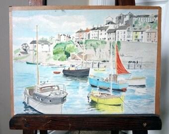 Watercolor Painting Harbor Boat Scene FR Startin UK Artist Harbour Watercolour Nautical Sailboats Sea Town