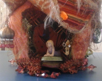 ooak fairy house handmade orange green