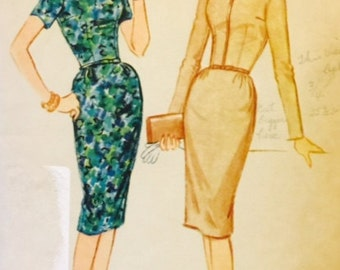 Vintage 50s 60s Fitted Square Neckline Sheath Wiggle Dress Sewing Pattern McCall's 5464 B32