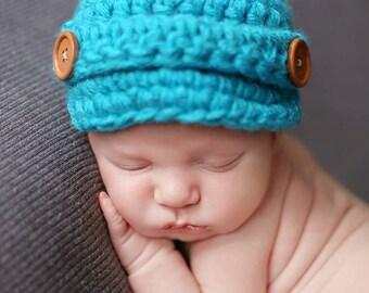 Baby Boy Hat, Newborn Boy Hat, Infant Boy Hat, Boy Newsboy Hat, Crochet Baby Hat, Crochet Newborn Hat, Baby Boy Beanie, Hat for Boy, Aqua