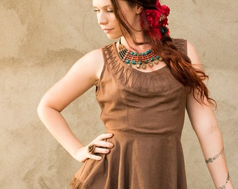 New! TULSI LINEN TOP - Boho Bohemian Hippie chic Couture Geometric Blouse Tunic Plus size Party Wedding Prom Elegant - Brown