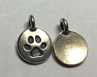 Antique Silver Paw Print Charm TierraCast Lead Free Pewter 16.5x11.5mm One charm